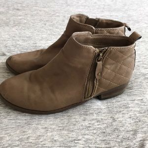 Light Brown Ankle Zip Boots